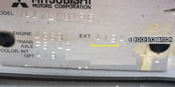 Vehicle Service Department Letter >> Mitsubishi paint codes | Where is my colour code location