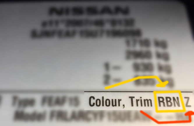 Nissan Micra Paint Code